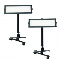 "Piatto 10"" x 3"" LED 2-Point Light Kit w/ Table Clamps for in-home Broadcasting"