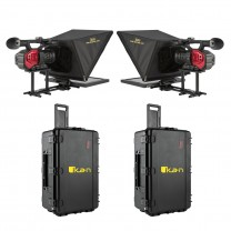 """P2P Interview System with 2 x 17"""" Teleprompters, 2 x HDMI cables, and 2 x Hard Cases"""