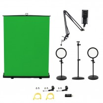 HomeStream Kit #4 with 2 Desktop Lights, Pull-Up Green Screen, HDMI Capture Device, Adjustable Camera Stand, Podcast Microphone w/ Adjustable Arm