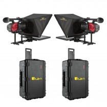 """P2P Interview System with 2 x 15"""" Teleprompters, 2 x HDMI cables, and 2 x Hard Cases"""