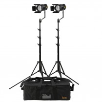 Stryder 50W Daylight 5600K Field Led Fresnel 2-Point Light Kit - Includes Stands And Bag