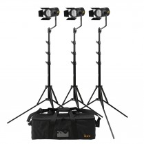 Stryder 50W Daylight 5600K Field Led Fresnel 3-Point Light Kit - Includes Stands And Bag