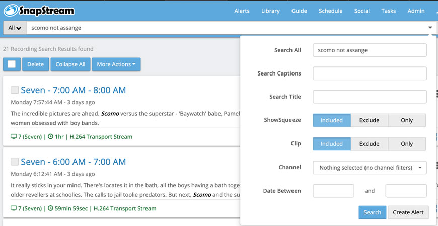 SnapStream – Record and Search TV